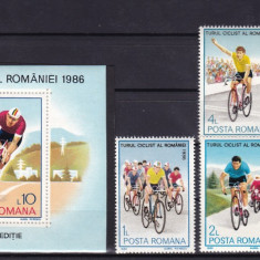 ROMANIA 1986 LP 1166 LP 1167 TURUL CICLIST AL ROMANIEI SERIE + COLITA  MNH