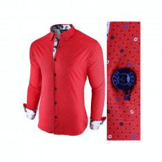 Camasa pentru barbati, rosu, slim fit, casual - Broker in Holiday, L, S, XL, XXL, Maneca lunga
