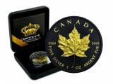 Moneda Argint 999.1 Uncie.Canada 2020.Maple Leaf.Editie Limitata.Gold&Black Emp., America de Nord