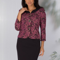 Compleu Lidia negru cu imprimeu floral mov