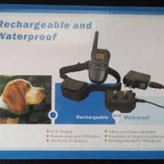 Zgarda dresaj cu telecomanda pentru caine cu vibratie soc sunet reincarcabila
