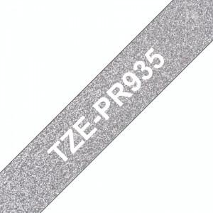 Banda continua laminata premium Brother TZEPR935 12mm 8m Alb pe Argintiu sclipitor