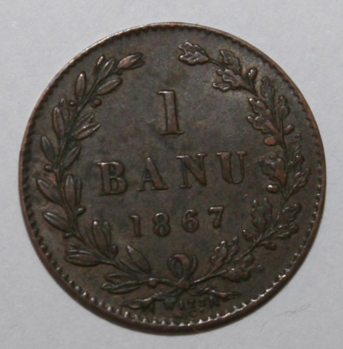 OKAZIE !!! 1 BANU 1867 WATT&Co . RAR . NEGRADAT - CEA MAI BUNA STARE .