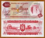 !!! GUYANA - 1 DOLAR (1966-1992) - P 21 d - UNC / SEMN. DIN SCAN / SERIA A/78