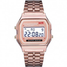 Ceas Electronic Digital Retro iUni WR1, Curea Metalica, Rose Gold
