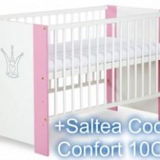 Patut Copii Din Lemn Korona Pink Princess+Saltea 10Cm