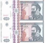 Bancnota Romania 500 Lei 1992 - P101b UNC ( set x2 consec. - filigran profil )