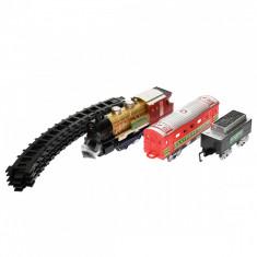 Set trenulet vintage, 2 vagoane, cu baterii - 70199