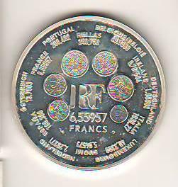 SV * Franta 1 EURO = 6.55957 FRANCS 2001 * ARGINT UNC / ex-PROOF foto