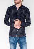 Camasa pentru barbati bleumarin cu model slim fit casual cu guler k314