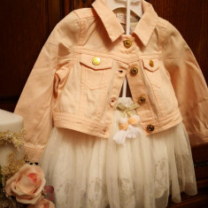 Set fetita 3 piese , geaca , bluzita  si fustita marca Catherine Malandrino, Universal, Roz