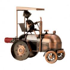 Suport metal pentru sticla vin model tractor H 27 cm