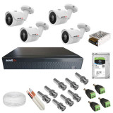 Kit complet de supraveghere 4 camere Acvil AHD EF30 4K 8 MP IR 20 m 2.8 mm + DVR AHD Acvil XVR5104 4K 4 canale 8 Mp + Hard Disk Seagate Skyhawk ST1000