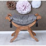 Scaunel turcesc din lemn mahon cu tapiterie gri inchis CAT350G19, Scaune