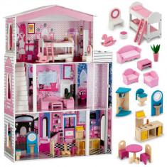 Jucarie Casuta de Papusi mare din Lemn, pentru copii, cu 3 etaje, Terasa si Mobilier, 116cm, roz