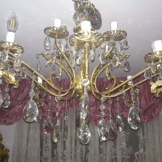 candelabru vintage,cristale Boemia,6 brate
