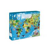 Puzzle educativ - Animale pe cale de la disparitie - 200 de piese, Janod J02676