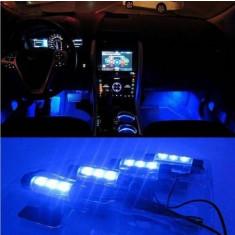 Lumini pentru picioare, auto, 4 module a cate 3 leduri, lumina albastra