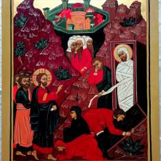 Icoană Învierea lui Lazăr - pictata pe lemn - aprox. 40x30 cm