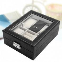 Cutie pentru 4 ceasuri + bijuterii sau butoni imprimeu crocodil de culoare...