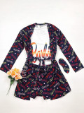 Set pijama dama 3 piese alcatuit din maieu + pantaloni scurti + halat negru cu imprimeu BR