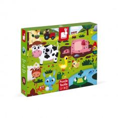 Puzzle tactil - Animale de la ferma - 20 de piese, Janod J02772