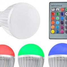Bec Smart LED E27 Multicolor RGB cu 4 moduri de iluminat, control telecomanda