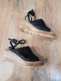 Superbe sandale dama noi piele naturala integral talpa ortopedica 40, Negru