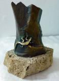 Sculpura Bronz - Soparla - Suport Piatra 15cm inaltime - Semnata