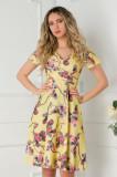 Cumpara ieftin Rochie Amelia galbena cu imprimeu floral