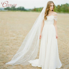 Voal de mireasa cu pieptan  lungime 2 m alb si ivory simplu si elegant