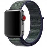 Cumpara ieftin Curea iUni compatibila cu Apple Watch 1/2/3/4/5/6, 42mm, Nylon Sport, Woven Strap, Navy Blue/Green