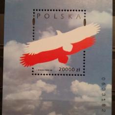 Polonia, 75 ani de la independenta, vultur, bloc, 1993, MNH