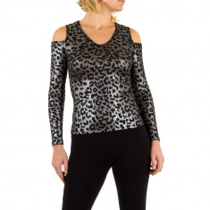Bluza argintie, cu print leopard, S, Argintiu