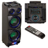 BOXA PORTABILA 2X8 inch/20CM ILUMINATA 200W USB/SD/BT/FM/AUX