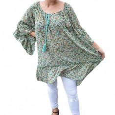 Bluza vaporoasa Maya cu imprimeu camp flower pe fond verde