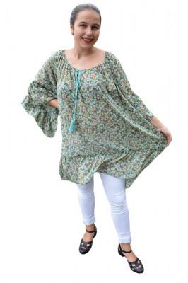 Bluza vaporoasa Maya cu imprimeu camp flower pe fond verde foto