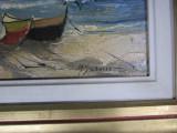 barci la mal tablou dimensiunea lucrarii 43x33cm cu rama 63x53cm