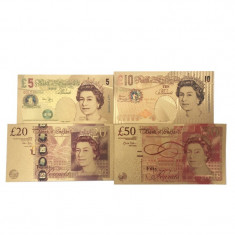Set 4 Bancnote ANGLIA/MAREA BRITANIE -  Bancnote placate cu aur - COLOR