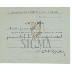 """DOCUMENT"""" SOOCIETATEA SCRIITORILOR ROMANI """" , CHITANTA, PERPESSICIUS - PREMIUL PENTRU POEZIE, 1927"""