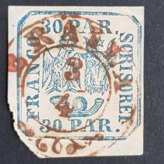 """ROMANIA 1864 PRINCIPATELE UNITE II, 30 par. PE FRAGMENT-STAMPILA """"BRAILA"""""""