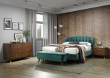 Set Mobila Dormitor tapitat cu stofa, pat 200 x 180 cm, 5 piese Emerald Velvet Verde / Nuc