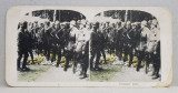 INSTRUCTIA UNEI COMPANII DE SOLDATI AMERICANI , FOTOGRAFIE STEREOSCOPICA , POLICROMA, PE CARTON , PRIMUL RAZBOI MONDIAL