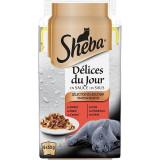 Cumpara ieftin Hrana umeda pentru pisici Sheba Mini Selectii, Pasare, Peste si Vita, 6x50g