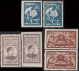 1947 Romania - Serie neuzata scutire de porto Fundatia Regele Mihai, hartie alba