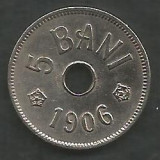 ROMANIA 5 BANI 1906 , litera J - Monetaria Hamburg [3] XF++ , in cartonas, Cupru-Nichel