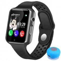 Ceas GPS Copii iUni Kid98, Telefon incorporat, Touchscreen 1.54 inch, BT, Notificari, Camera, Negru + Boxa Cadou