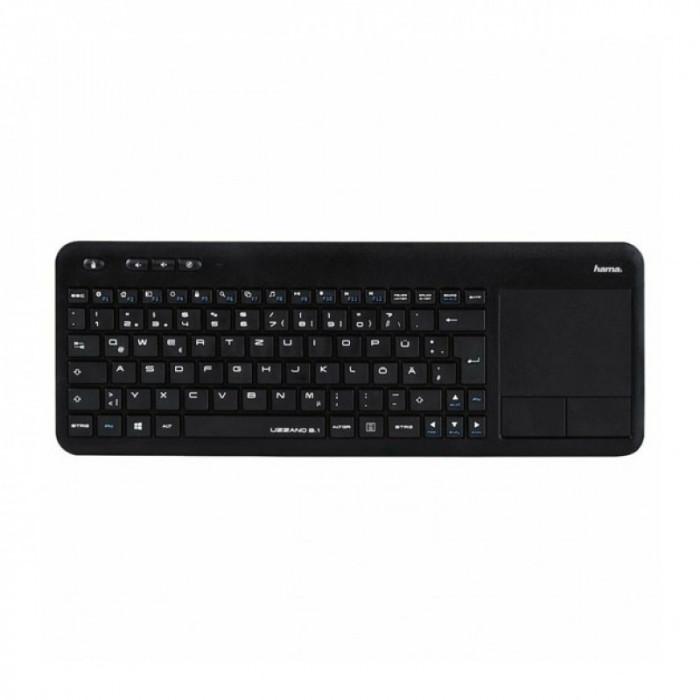 Tastatura wireless pentru Smart TV Hama Uzzano 3.1, touchpad integrat, Negru