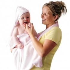 Prosop de baie pentru bebelus si mama roz Clevamama
