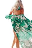 X638-11121 Tunica de plaja, tip kimono, din chifon, model cu frunze